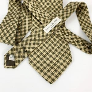 Banana Republic Plaid Tie Green Beige Made Italy